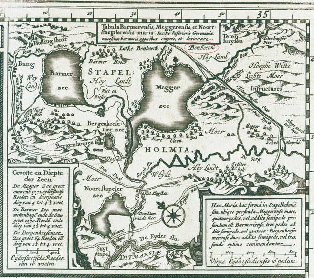 Stapelholm um 1630, vergrößerter Kartenauszug der holländischen Karte.