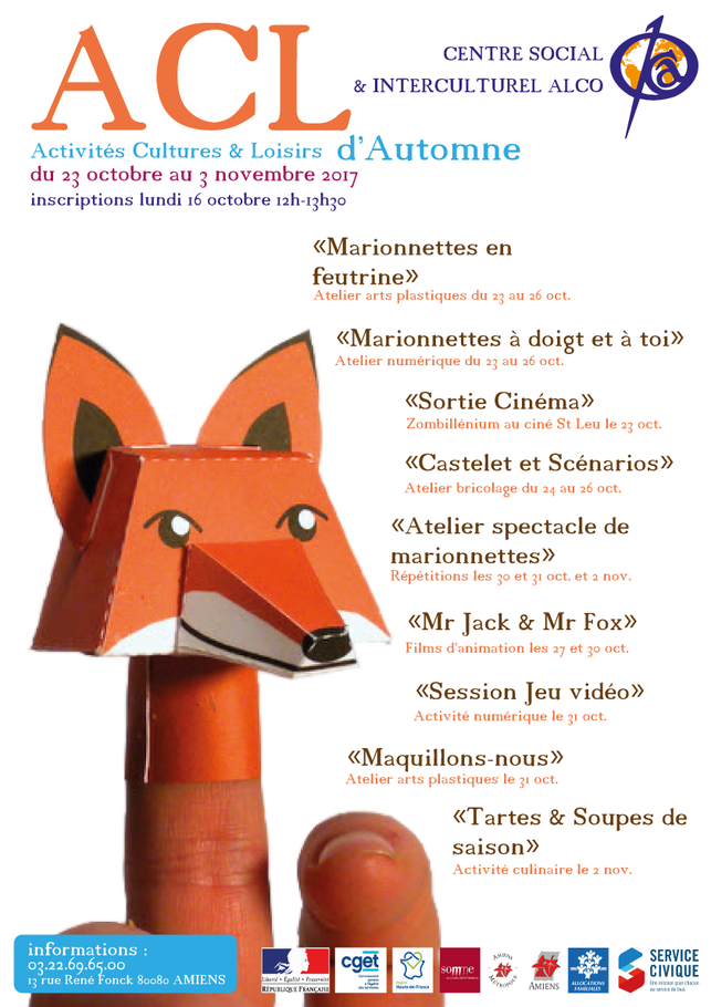 Affiche présentant le programme des Activités Cultures et Loisirs du centre social et interculturel ALCO.