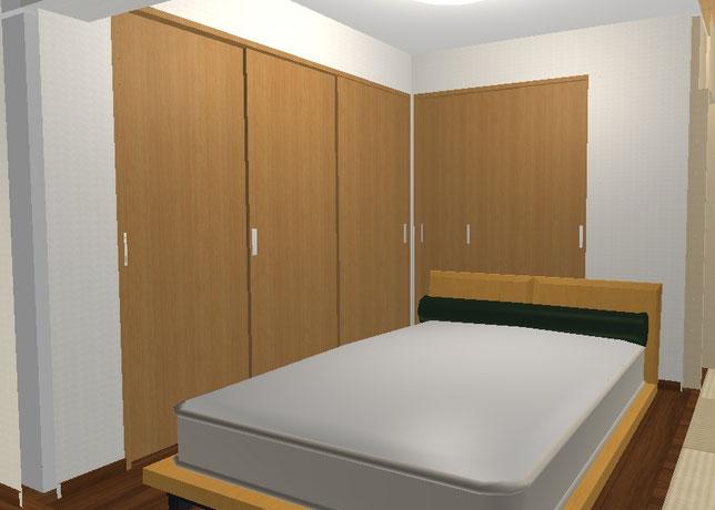 マンションリフォーム施工事例 寝室イメージ図