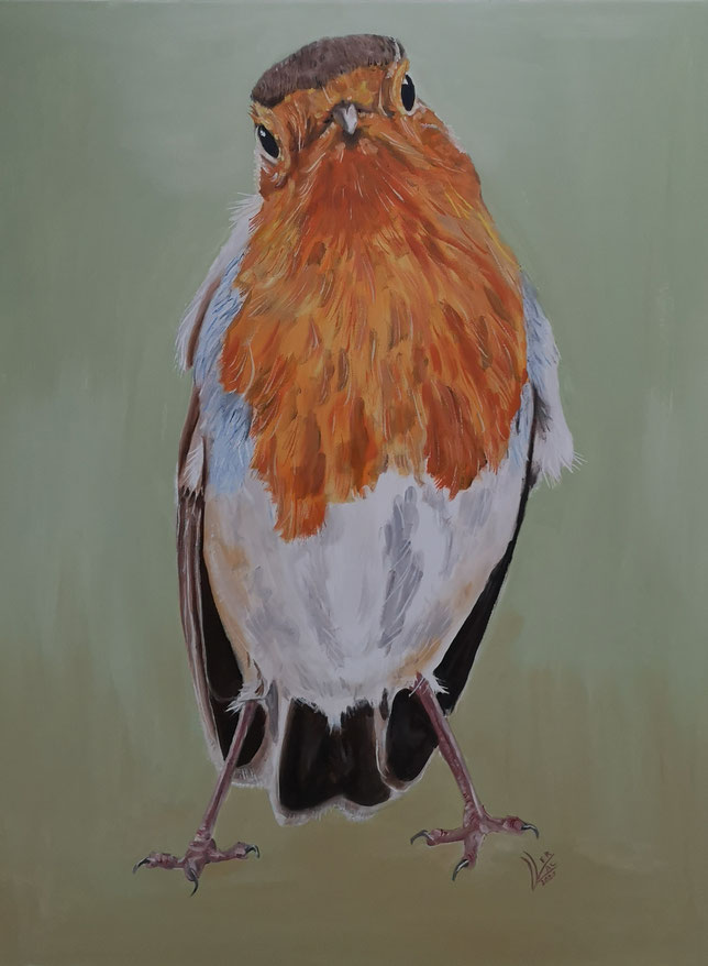 "Giant robin ""What are you looking at""60x80 cm"