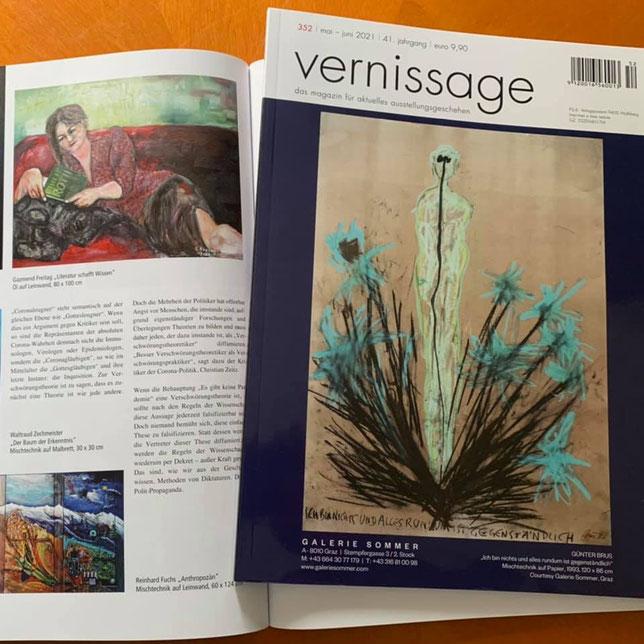 """Wissen & Schaffen, meine Teilnahme mit mein Bild """"Literatur schafft Wissen"""", publiziert bei das Magazin Vernissage Nr. 352, mai - juni 2021"""