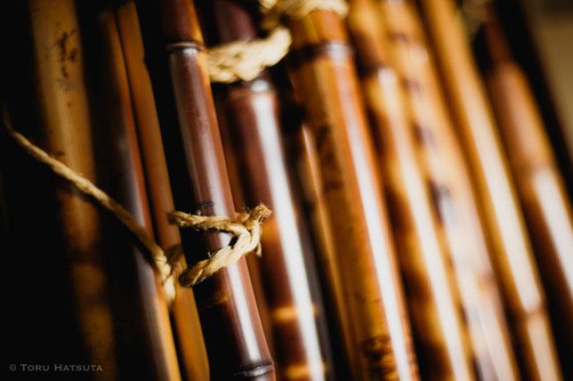 古材の煤竹をはじめ、大事に保管している竹たち