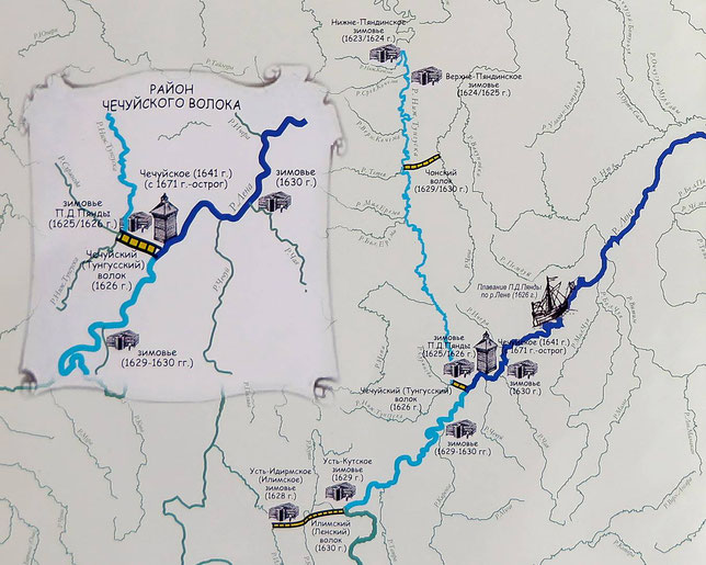 Карта-схема «Маршрута Чечуйск-Соттинцы». Фрагмент. П.Л.Казарян, 2007 г.