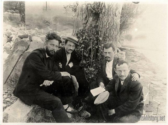 Группа Романовцев сбежавших из Александровской тюрьмы через подкоп: В. Перазич, И. Хацкелевич, Н. Гельфанд и В. Рабинович. Женева, 1905 г.