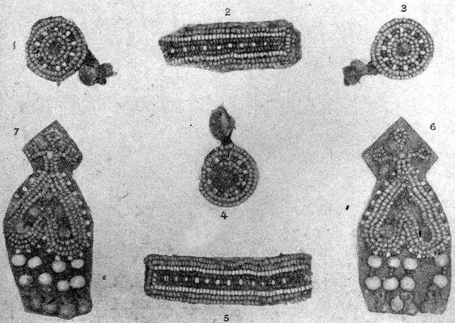 Рис. 6. 1,3,4 — оловянные бляшки, зашитые бисером, и пуговицы; 2,5 — ровдужные полоски, вышитые бисером; 6,7 — подвески в виде сердечка.