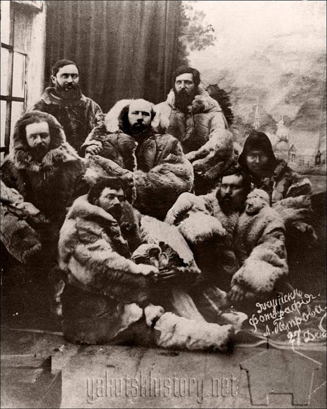 """Спасшийся экипаж """"Жаннетты"""" во главе с Дж.Мельвиллем в Якутске 27 декабря 1881 г."""