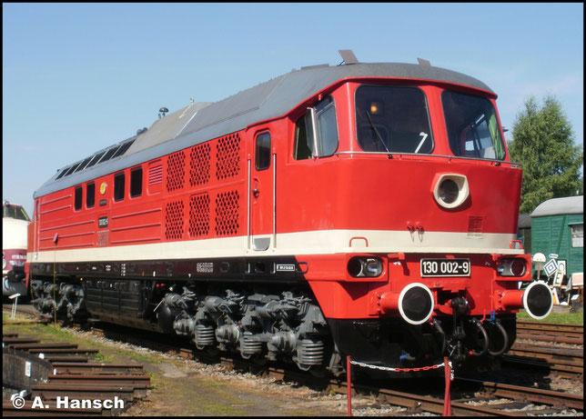 Die zweite ihrer Baureihe: 130 002-9 am 21. August 2010 zum 20. Heizhausfest im SEM Chemnitz