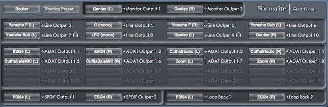 Tab Routing scheda audio Focusrite