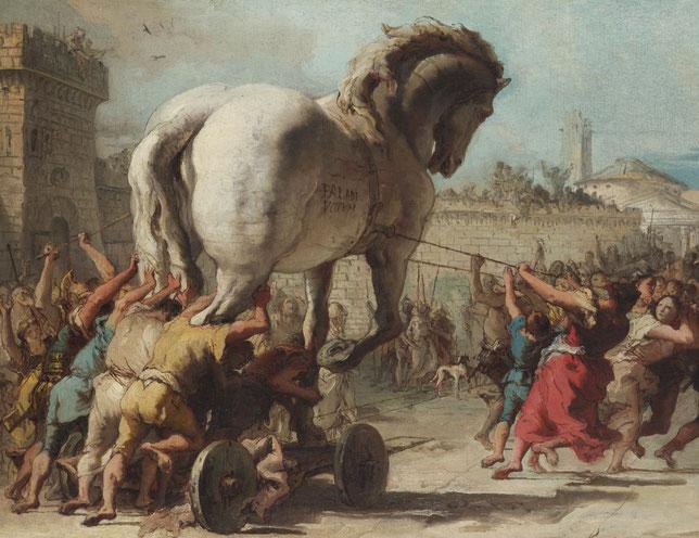La processione del cavallo di Troia - Giandomenico Tiepolo