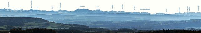 derselbe Ausschnitt des Panoramas, bei schönem Wetter vom Turm aus gesehen