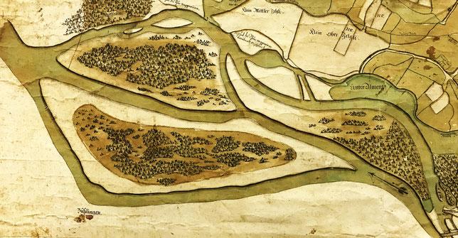 die Thur bei Pfyn - Sulzbergerkarte 1835