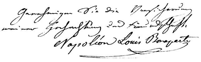 "Grussformel am Ende eines Briefes von Louis Napoleon an ""Monsieur le pasteur"" Thomas Bornhauser"