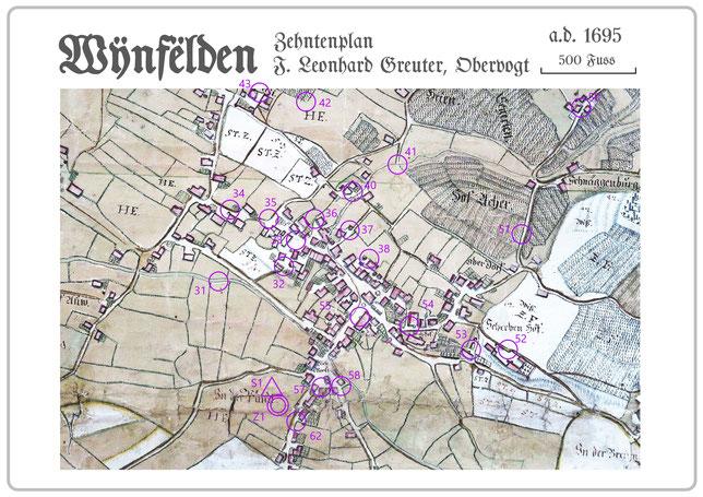 der über 300 Jahre alte Zehntenplan des Obervogtes Leonhard Greuter