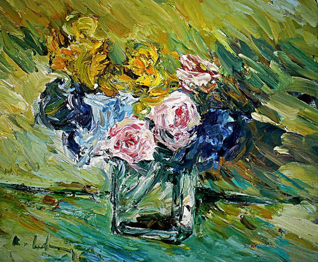 Rosen mit Schwertlilien   2008, Öl auf LW, 46 cm x 55 cm