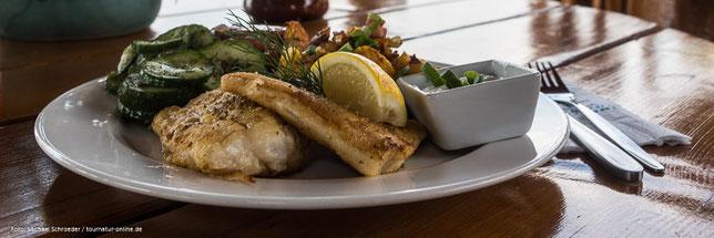 Dorschplatte am Fischrestaurant in Kammincke Usedom Fisch Fischteller