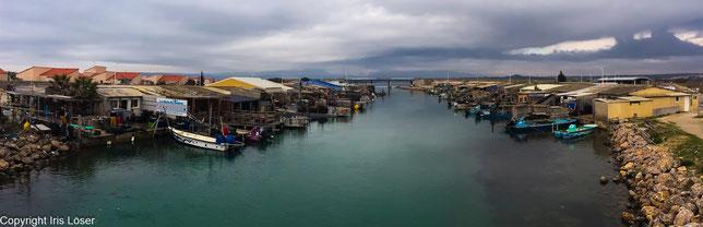 kleiner Hafen mit Austernfischern in der Nähe von Leucate