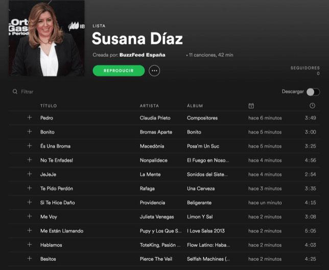 Lista Spotify Susana Díaz