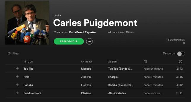 Lista Spotify Carles Puigdmont