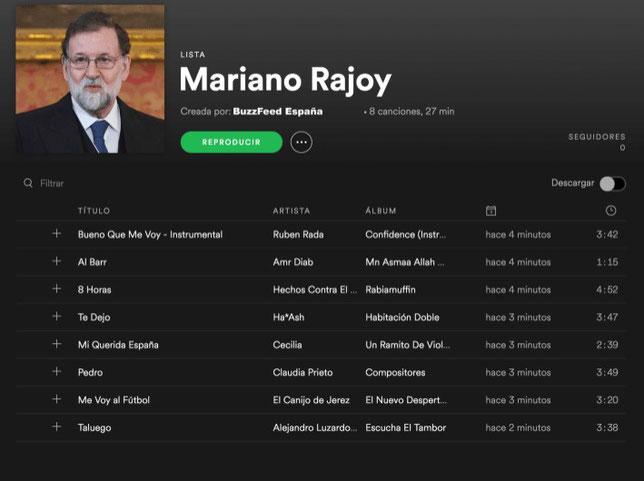 Lista Spotify Mariano Rajoy