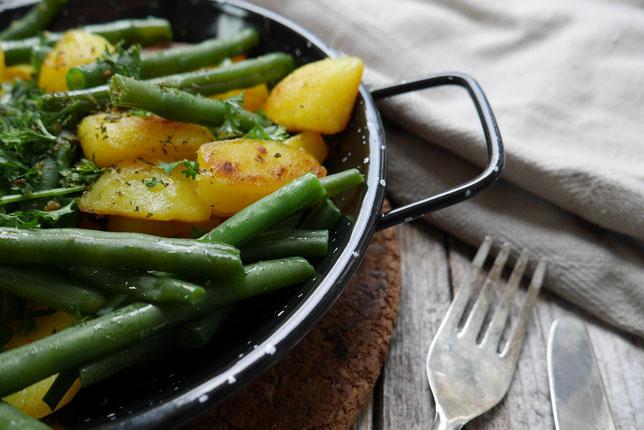 Fisolen-Kartoffel-Pfanne