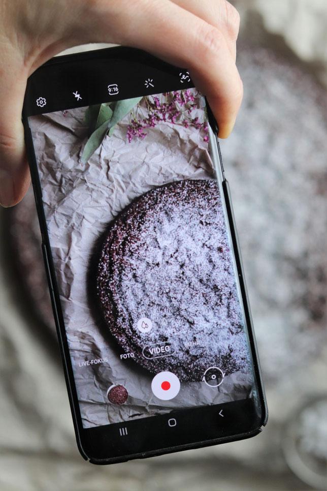 Handybild von einem Schokoladenkuchen