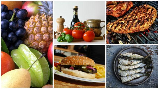 verschiedenes Essen; Früchte, Fleisch, Fisch , Gemüse, Burger