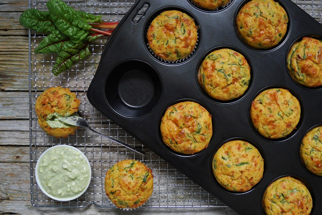 Mangold Muffins, deftige Muffins mit Mangold