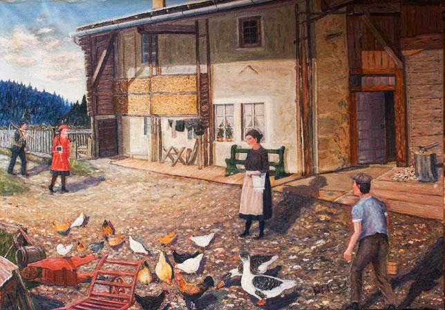 Tell Rochat nella sua casa natia a Les Places, con il padre, la madre, un fratello e una sorella. In questa foto c'è vita e amore