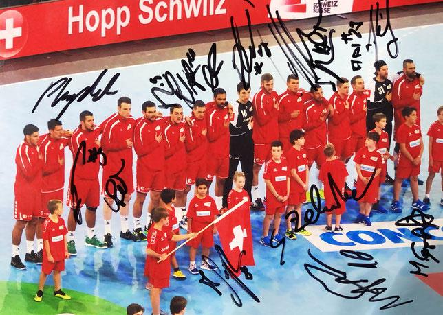 Autograph Swiss National Handball Team Autogramm Schweizerische Handballnationalmannschaft