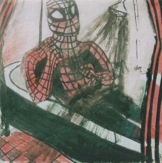 Acrylique, markers et craies sur papier / 50x50 cm