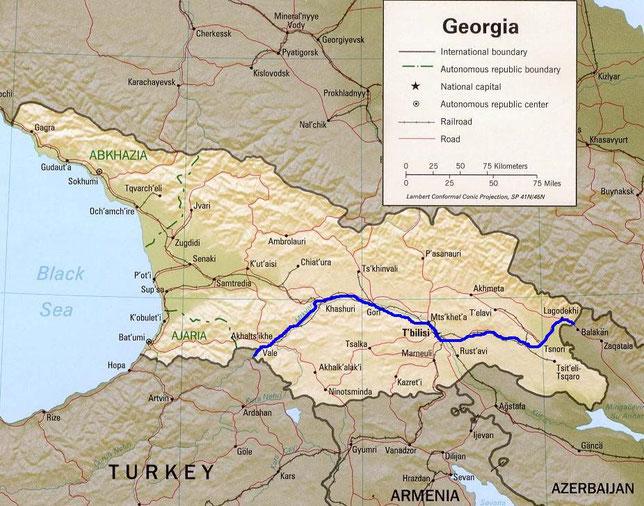 Itineraire suivi en Georgie