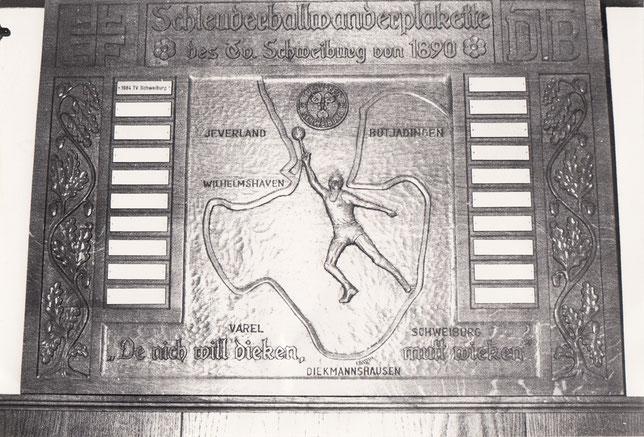 Wanderplakette ab 1984 zum 60. Plakettenspieltag
