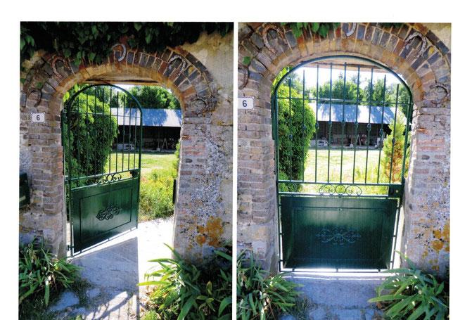 Porte de jardin en métal avec éléments décoratifs en fer forgé