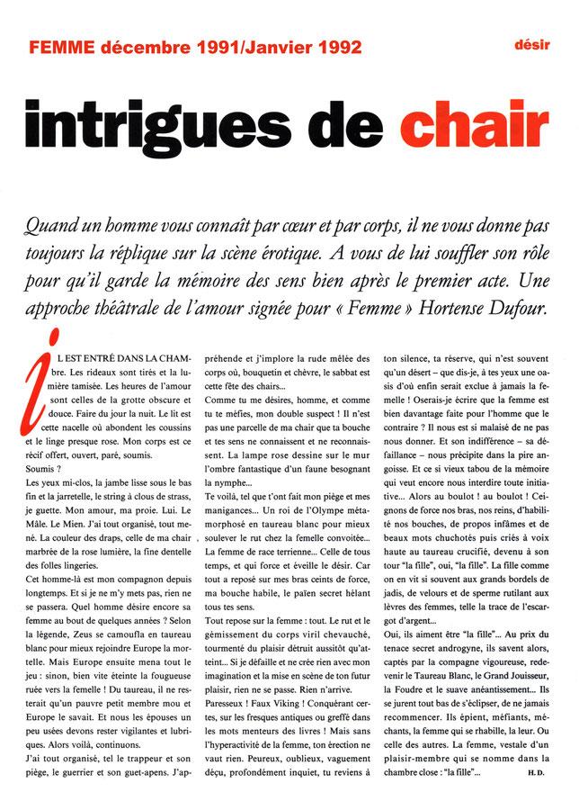 """Article pour le magazine """"FEMME""""."""