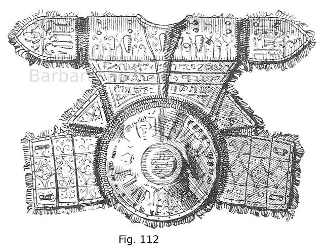 Rückenteil mit Achselstücken des Harnisches Fig. 111; die Eisenteile sind graviert und vergoldet.
