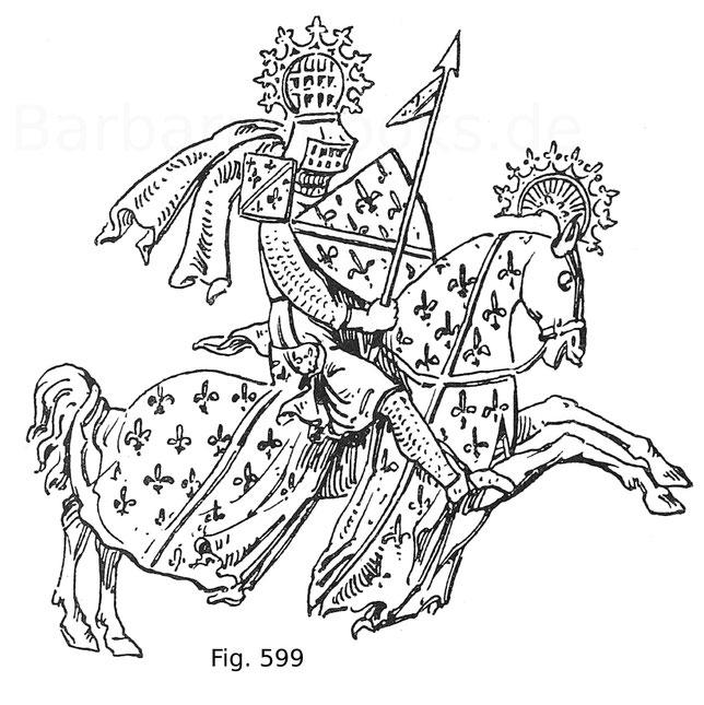 Fig. 599. Louis I. von Bourbon (1339—1384) mit dem Pennon auf einem Siegel im Archiv zu Paris.
