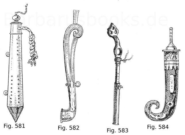 Fig. 581. Preußischer Luntenberger, nach einem Ölgemälde im königlichen Zeughaus in Berlin. Um 1720.  Fig. 582. Radschlossspanner in Verbindung mit einem Schraubenschlüssel aus geschnittenem Eisen, teils vergoldet, zu einem Jagdgewehr Kaiser Rudolfs II. g
