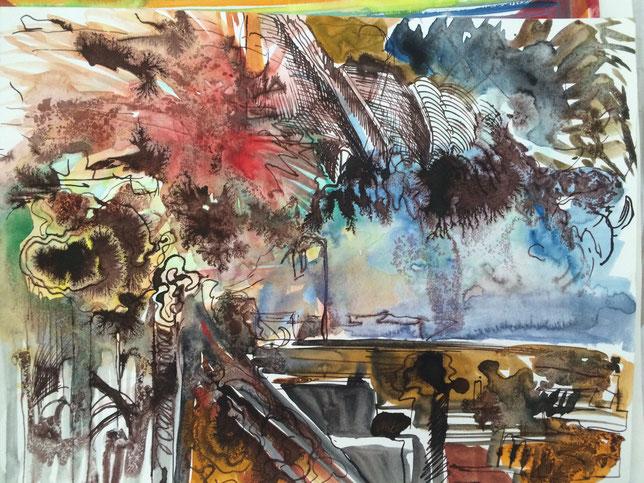 Entrée de Brest-Étude, 2016, Tusche, Aquarell auf Papier