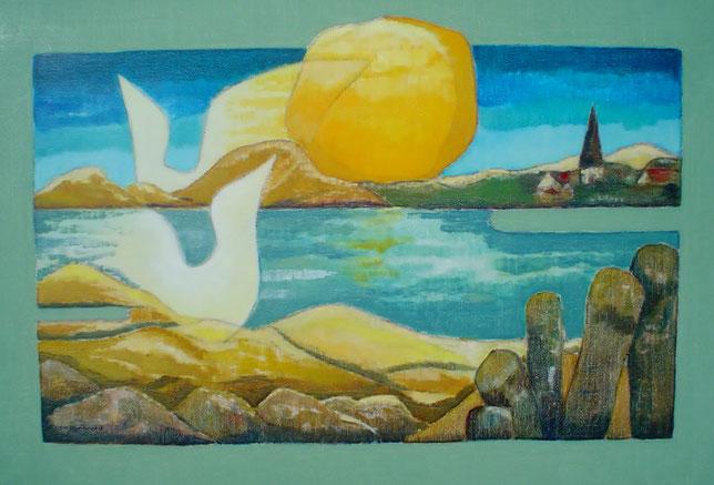 Jopie Minnaard,  Zee-Land, olieverfschilderij op doek