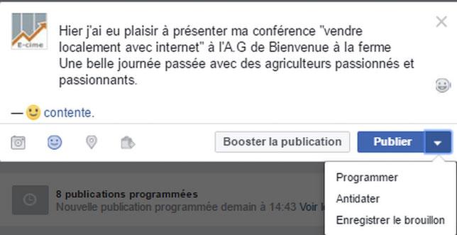 programmer un article sur sa page professionnelle facebook avec e-cime.fr