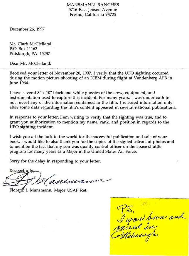 Lettera indirizzata a Clark McClelland dal Maggior Mansmann