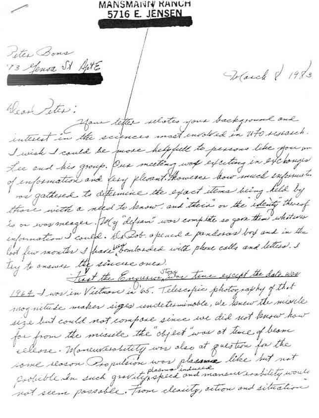 Lettera di Mansmann a Peter Bons per confermare quanto visto nel filmato