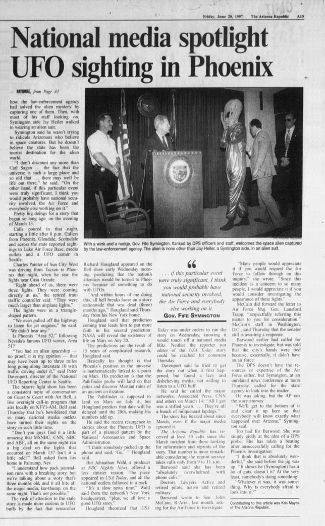 Il giornale The Arizona Republic cheriporta la notizia Venerdì 20 Giugno 1997
