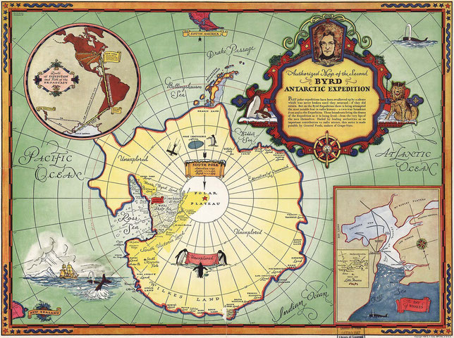 A map of Richard E. Byrd's second expedition to Antarctica in 1934.