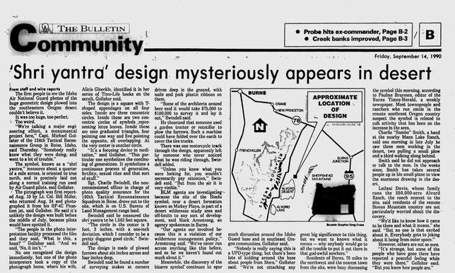 Shri yantra design misteriously appers in desert - The Bulletin