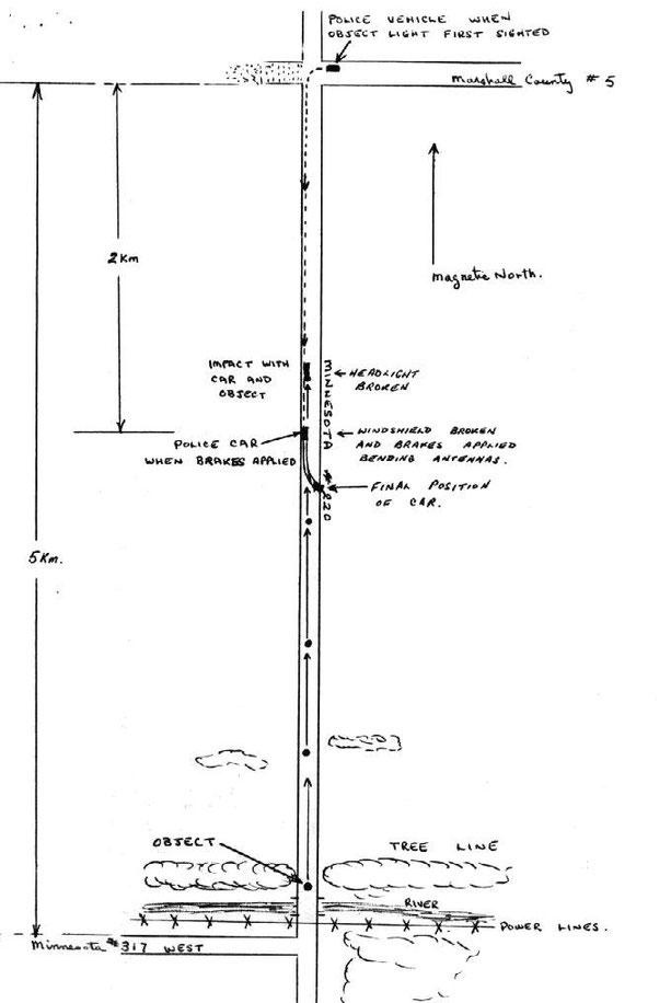 Mappa dell'incidente di Val Johnson