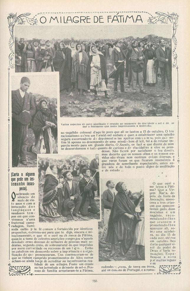 """Una copia fotostatica di una pagina della rivista Ilustração Portuguesa del 29 ottobre 1917, ritraente la folla che osserva il """"miracolo del sole""""."""
