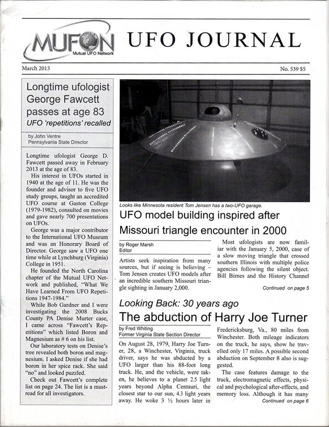 Articolo su Harry Joe Turner del UFO JOURNAL - MUFON
