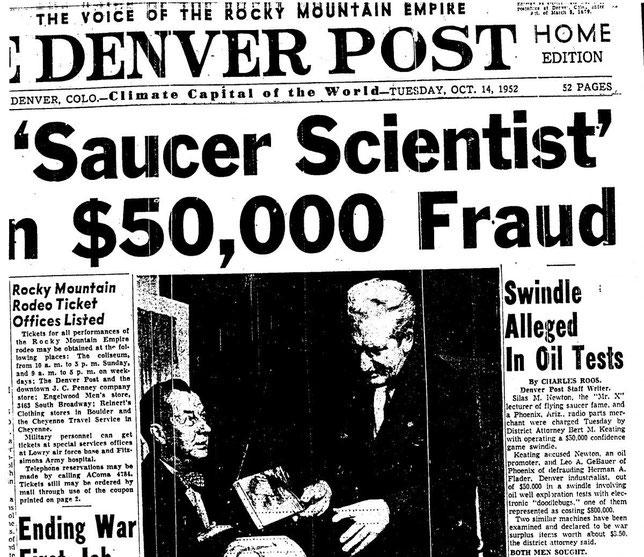 Articolo del Denver Post  14 Ottobre 1952