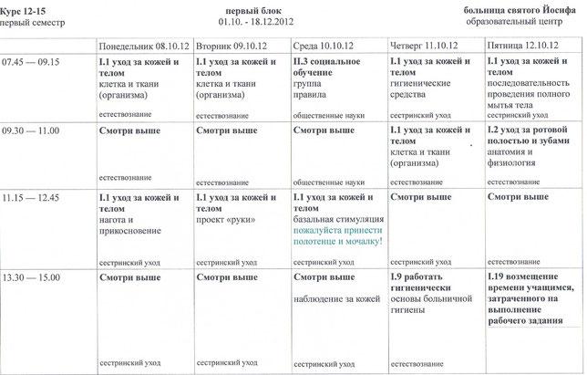 Пример расписания уроков в школе по уходу за пациентами при больнице святого Йозефа в Висбадене